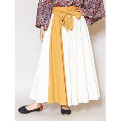 【チャイハネ】カラーラインリボンスカート ホワイト