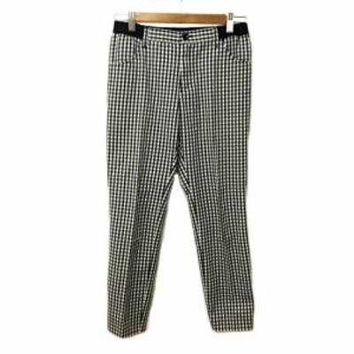 【中古】バンヤードストーム BARNYARDSTORM パンツ テーパード ロング チェック 1 白 黒 ホワイト ブラック