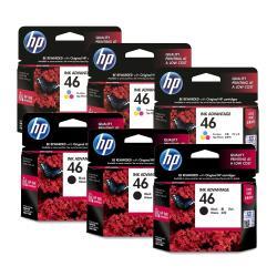 HP 原廠 NO.46 CZ637AA黑色3入+CZ638AA彩色3入 墨水匣 適用 HP 2029 / 4729