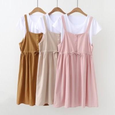 限定100枚 セール 2点送料無料 日系 新 レディースファッション 学院風 ワンピース  半袖シャツ+つりスカート 2点セット 5-6-2-2