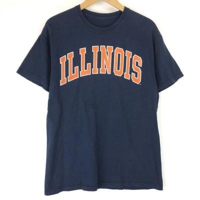 古着 ロゴプリントTシャツ ILLINOIS ネイビー系 メンズM 中古 n016509