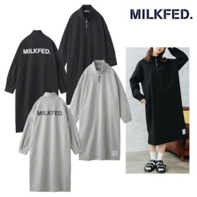 送料無料 ミルクフェド MILKFED ワンピース レディース プルオーバー HALF ZIP DRESS ブラック アッシュ 103211041015
