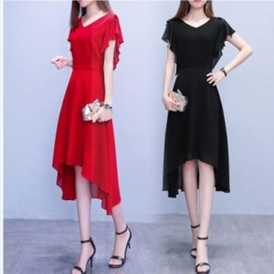 韓国 ファッション レディース 大きいサイズ ワンピース レディース フィッシュテールワンピース 膝丈ワンピース 半袖 大きいサイズ シフ