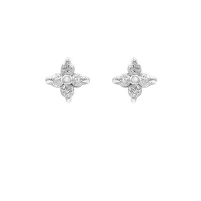 【WEB限定商品】K10 ホワイトゴールド ダイヤモンド フラワー ピアス