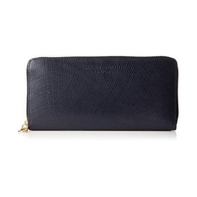 [キャサリンハムネットロンドン] 財布 最高級イタリア産カウレザー使用 WAVE ウェーブ ラウンドファスナー ネイビー