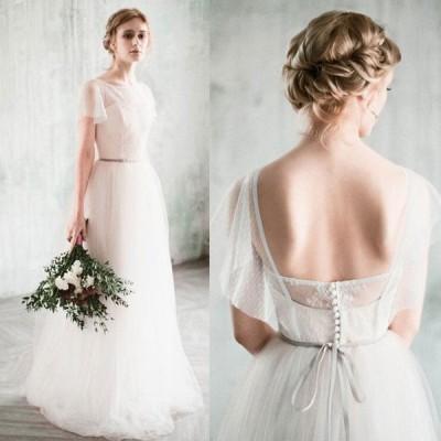 ウェディングドレス 背中リボン カジュアル シンプル スレンダーライン 海外ウエディング 結婚式/パーティー/ロング/二次会