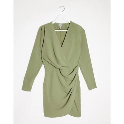 エイソス ASOS DESIGN レディース ワンピース ラップドレス ワンピース・ドレス long sleeve pleat front wrap mini dress in khaki カーキ