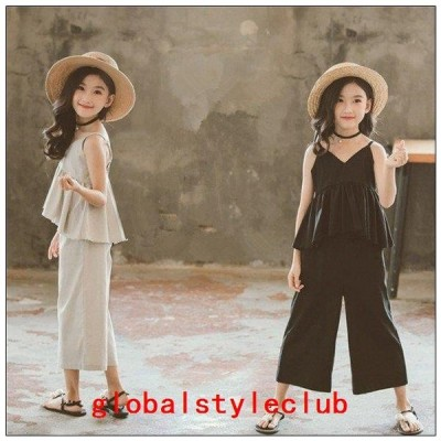 韓国子供服セットアップ女の子キャミソールパンツストライプ子供キッズ可愛い90-160cm2点セット上下