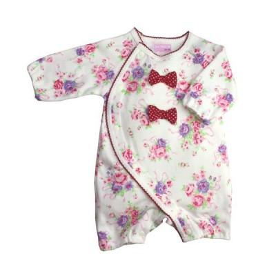 coo chou toi(クシュト) ロンパース カバーオール フィットオールバラ花束柄リボン付 (60cm-70cm)