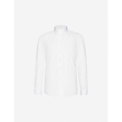 リース REISS メンズ シャツ スキニー・スリム スリム トップス Remote slim-fit cotton shirt WHITE