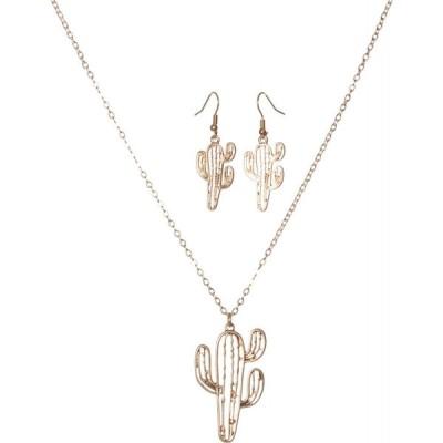 ワイオハウス Wyo-Horse レディース ネックレス ジュエリー・アクセサリー Graphic Saguaro Necklace and Earrings Set Gold