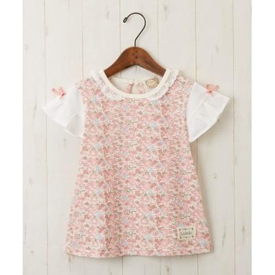 UZULAND 袖リボン付小花Tシャツ(女の子 子供服) (Tシャツ・カットソー)Kids' T-shirts