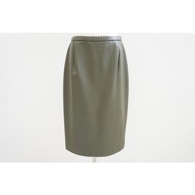 #wnc レリアン Leilian スカート 11 カーキ フェイクレザー レディース [561400]