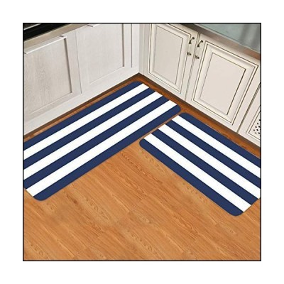 Simple Decor Kitchen Rugs and Mats Non Skid Washable Cushioned Kitchen Mat Anti Fatigue Mat Kitchen Set of 2 Waterproof Modern Stripes Navy