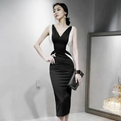 バイカラー ノースリーブ ひざ丈 スリット ワンピース ドレス セクシー きれいめ オルチャン お呼ばれ 大きいサイズ