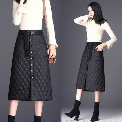 スカートボトムスキルティングラップスカートレディース中綿キルト巻きスカートロング丈超軽量あったか大きいサイズラップスカート防寒