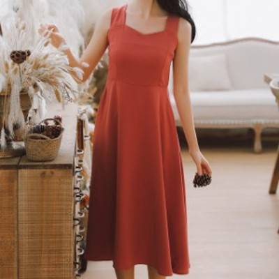 人気 売れ筋 ワンピース ロング丈 キャミソール ドレス フレア 無地 ファスナー パーティー hf02378