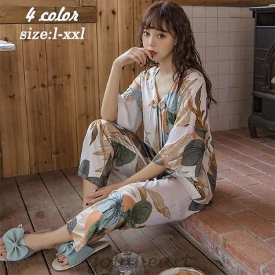パジャマ ルームウェア レディース 花柄 半袖パジャマ  可愛い ロングパンツ 薄手パジャマ ルームウェア上下セット 女性 部屋着 寝巻き