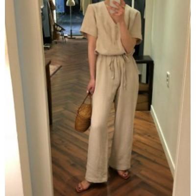 韓国 ファッション レディース オールインワン リネン ワイドパンツ 大きいサイズ Vネック オルチャン 半袖 大人可愛い カジュアル