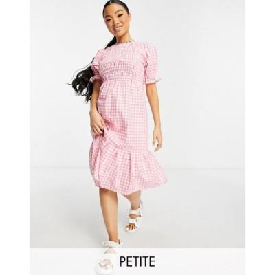 インフルエンス Influence Plus レディース ワンピース ミドル丈 ワンピース・ドレス Influence Petite midi dress in pink gingham ピンク/ホワイト