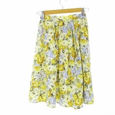【中古】テチチ Te chichi スカート ギャザー ひざ丈 花柄 ジップアップ M 黄色 イエロー /AKK10 レディース
