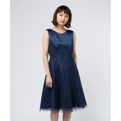 ドレス 花柄×レースチュールワンピース(9R04-A1728)結婚式・お呼ばれ対応ワンピースドレス