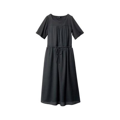 【大きいサイズ】 5分袖異素材切替ワンピース ワンピース, plus size dress