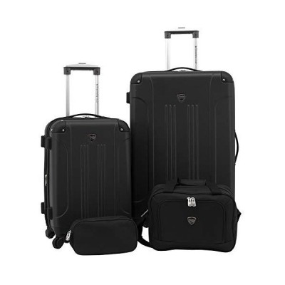 Travelers Club 4 Piece Set Chicago Plus Luggage and Accessories Set, Black Option