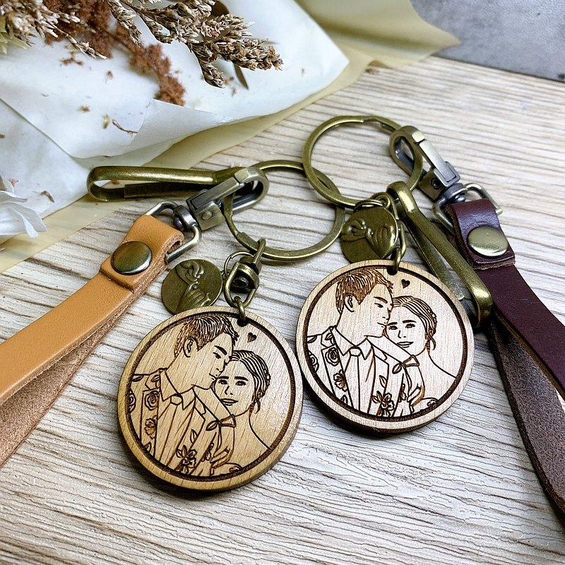 寫實版 客製化鑰匙圈 實木鑰匙圈 情侶鑰匙圈 木刻鑰匙圈