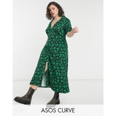 エイソス レディース ワンピース トップス ASOS DESIGN Curve ultimate midi tea dress in black and green floral print