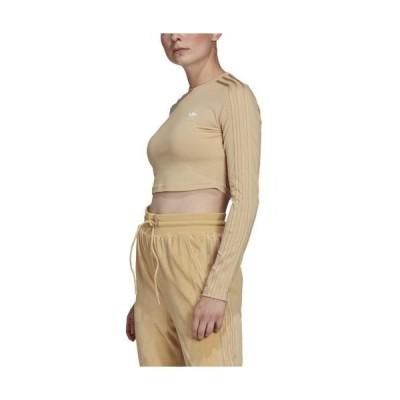 【ポイント最大14倍!!】(取寄)アディダス オリジナルス レディース クロップド ロング スリーブ adidas originals Women's Cropped Long Sleeve Hazy Beige 送