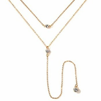 Wowanoo Vintage Double Layer Alloy Crystal Choker Necklace with Long Chain Pendant Gold