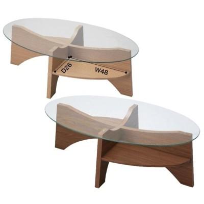 テーブル センターテーブル ガラス オーバルテーブル LE-454 リビングテーブル 収納 ブラウン ナチュラル 個性的 シンプル デザイン