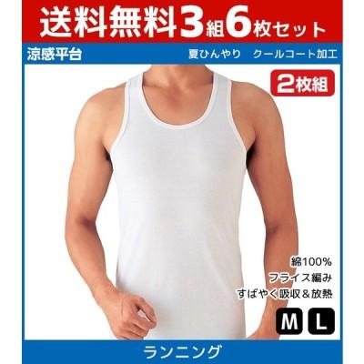 3組セット 計6枚 シーズン涼感平台 夏ひんやり ランニングシャツ ノースリーブ タンクトップ 2枚組 Mサイズ Lサイズ グンゼ GUNZE 綿100% RB47202-SET