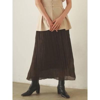 スカート フラワーワッシャープリーツロングスカート