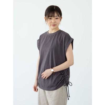 グリーンパークス Green Parks ・RAY CASSIN サイドドロストフレンチTシャツ (チャコールグレー)