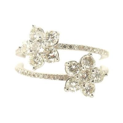 ダイヤモンドリング K18WGホワイトゴールド フラワーリング トータル1.000カラット ダイヤリング お花指輪 4月誕生石
