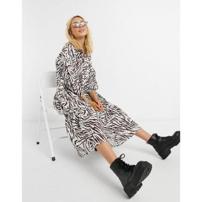 エイソス レディース ワンピース トップス ASOS DESIGN midi shirt smock dress with tiering and puff sleeve in zebra print Zebra print