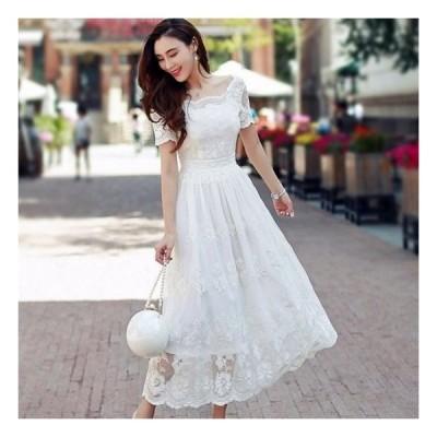 ワンピース ドレス ロング レース アンティーク 白 エレガント エレガント 大かわいい 半袖 フレア 韓国 パーティードレス 20代 30代 40代
