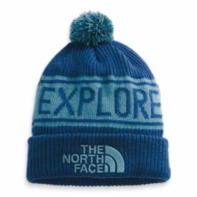 ザ ノースフェイス The North Face ユニセックス ニット ポンポン ビーニー 帽子 Retro Pom Beanie Monterey Blue/Storm Blue