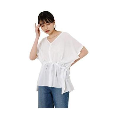 アズールバイマウジー tシャツ FRONT PEPLUM BLOUSE 250DSS30-123D M ホワイト レディーズ