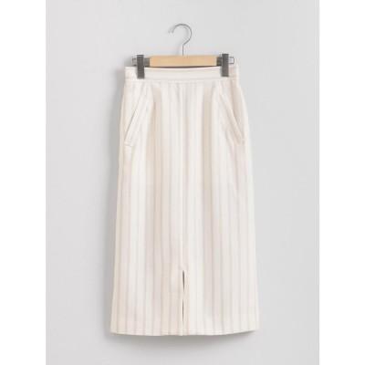 le.coeur blanc リネンライクイージータイトスカート(ホワイト)