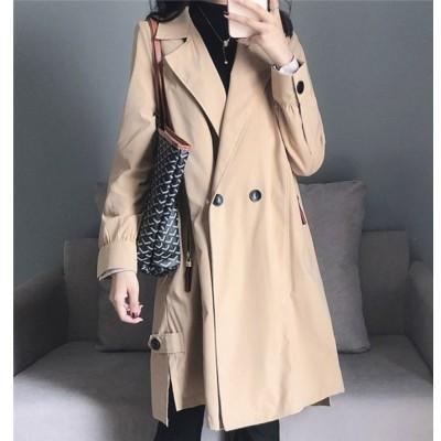 トレンチコート レディース アウター コート ロング丈 大きいサイズ 秋 ファッション ジャケット カジュアル 20代 30代 40代 無地 ボダン付き