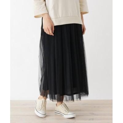 SHOO・LA・RUE/シューラルー 【M-L】チュールプリーツマキシスカート ブラック(019) 03(L)