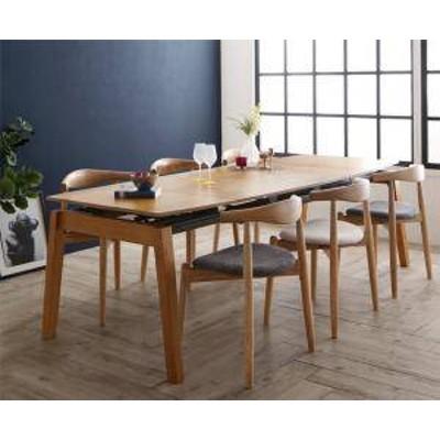ダイニングテーブルセット 6人用 椅子 おしゃれ 伸縮式 伸長式 安い 北欧 食卓 7点 ( 机+チェア6脚 ) 幅140-240 デザイナーズ クール ス