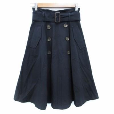 【中古】アプワイザーリッシェ スカート トレンチ フレア ロング丈 ベルト付き 0 紺 ネイビー /FF41 レディース