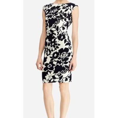 American  ファッション ドレス American Living Womens Blue Size 14 Floral Print Ruched Sheath Dress