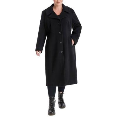 アンクライン コート アウター レディース Plus Size Single-Breasted Maxi Coat Black