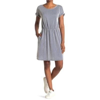 タッシュプラスソフィー レディース ワンピース トップス Striped Short Sleeve Pocket Dress DENIM/IVORY