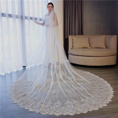 1層ウエディングベールベールウエディングロングベールウェディングレース・刺繍・花柄結婚式コーム付き